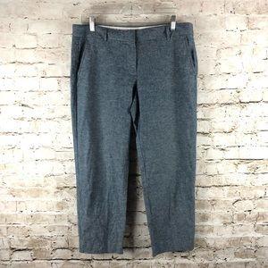 Women's J. Crew Capri/Crop Blue Linen Pants size 8